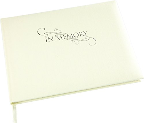 Esposti In Memory Condolence Book - Cream Linen Cover - Funeral Guest Book - Memorial Book - Presentation Boxed - (LARGE SIZE - Width 265mm - Height 195mm - Depth 15mm)