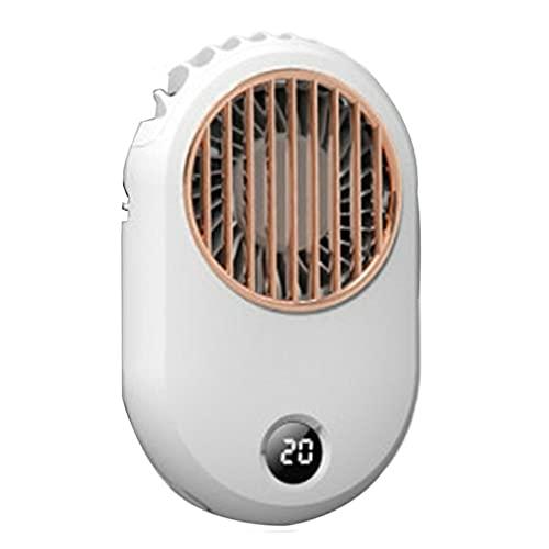 DAMAJIANGM Ventilador de Cuello Colgante con Pantalla Digital Mini Ventilador silencioso de Mano USB con Cuello Colgante Blanco