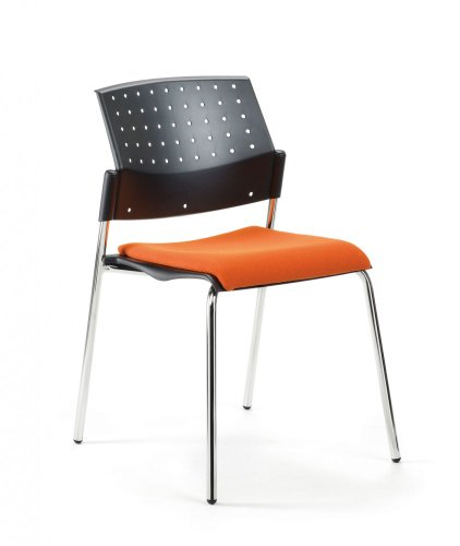 Mayer Sitzmöbel Stuhl Objektstuhl Stapelstuhl 2576 Gestell chrom Sitz gepolstert Rücken Kunststoff ohne Armlehnen Bezug 26257