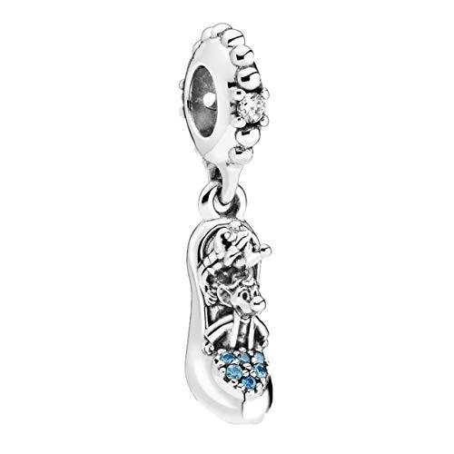 BFDMY Disney Cinderella Slipper & Mäuse Charms-Anhänger 925 Sterling Silber Charm Bead für Chamilia und europäische Armbänder und Halsketten