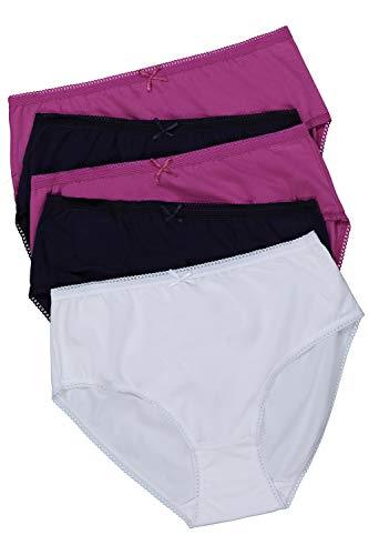 Ulla Popken Damen Größen, 5er Pack, Uni Slip, Multicolor, 58+