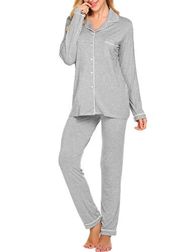 Ekouaer Pajama Set Womens Soft Sleepwear Long Sleeve Pjs Top Long Lounge Pants,Grey,Large
