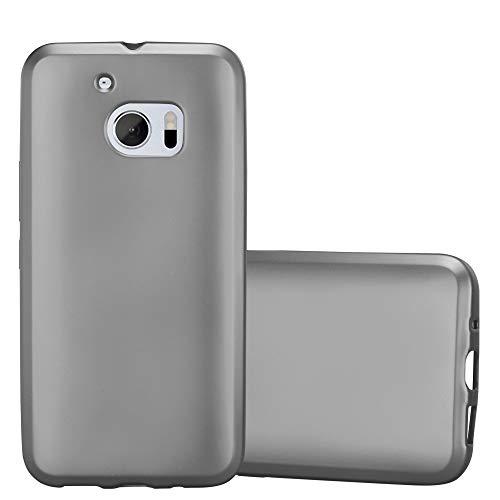 Cadorabo Hülle für HTC 10 (One M10) in METALLIC GRAU - Handyhülle aus flexiblem TPU Silikon - Silikonhülle Schutzhülle Ultra Slim Soft Back Cover Hülle Bumper