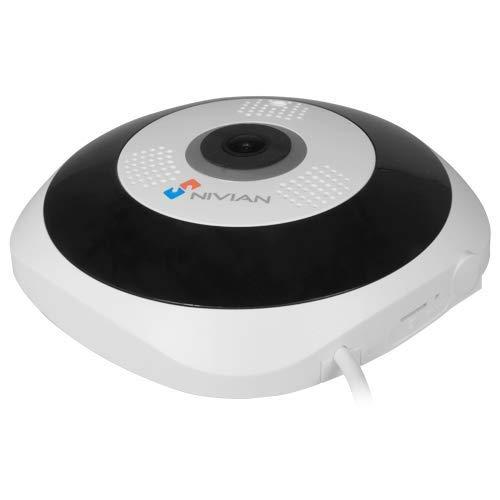 Nivian cámara Wifi 2,4Ghz IP domo FishEye con visión 360º-Imagen auto-adaptativa-Alta resolución 3Mpx-Visión nocturna-Audio bidireccional-Grabación en microSD(No incluida)-APP disponible iOS y Android