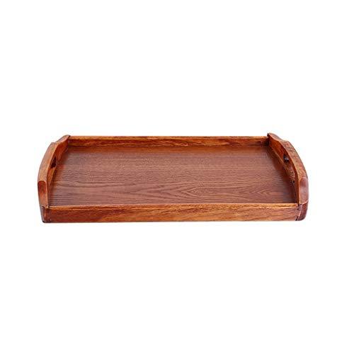 Bandeja Bandeja de madera natural, vajilla de madera, bandeja de fruta del bocado de la taza de té del hogar de madera sólida, tabla del té, comida, rectángulo Breakfast Platter ( Size : S )