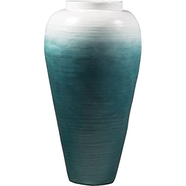 Zeesline Bamboo Vase Centerpiece - 16.75  Tall, Décor for Living Room and Coffee Tables (Aqua)