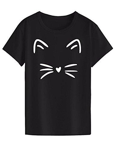 """Neo Garments Women's Cotton T Shirt - Meow (Black, 2XL(Chest:40"""",Length:27.5"""",Shoulder:17""""))"""
