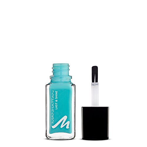 Manhattan Last & Shine Nagellack – Türkiser, glänzender Nail Polish für 10 Tage perfekten Halt – Farbe Roll In The Grass 805 – 1 x 10ml