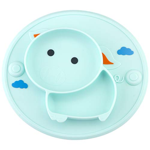 Image of Qshare Toddler Plates, One-Piece Baby Plate for Toddlers and Kids, BPA-Free FDA Approved Strong Suction Plates for Toddlers, Dishwasher and Microwave Safe Silicone Placemat (1Pig-Cyan)
