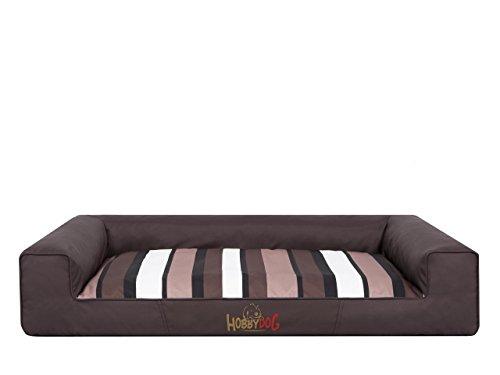 Hobbydog L VICCBP8 Cama para Perros Victoria, tamaño L – 80 x 55 cm, marrón Oscuro con Rayas, colchón para Dormir, Cama para Perros, sofá para Perros, L, marrón, 2,7 kg