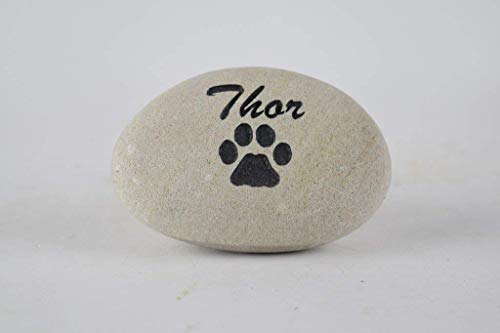 Pet Memorial Headstone Grave Marker - Natural Stone River Rock Sandblast Engraved with Your Pets Name and a Paw Print for Dog or Cat 3' to 4'