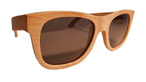 S&J Gafas de sol de madera de bambú 100% Natural Protección UV Marcado CE Hechas a mano con madera natural, con bisagras de dos víasPolarizadas Para actividades al aire libre Para surfistas snowboard