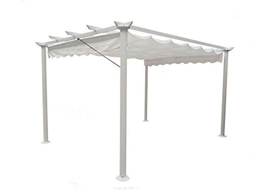 Michele Sogari & C. Srl Gazebo Pergola da Giardino 3X4 Telo in Poliestere 200 Grammi e Struttura in Alluminio (Bianco)