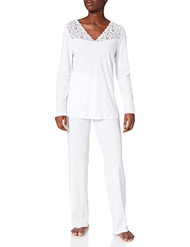 Hanro Damen Moments Nw Pyjama 3/4 Arm Zweiteiliger Schlafanzug, Weiß (White 0101), 36 (Herstellergröße: XS)