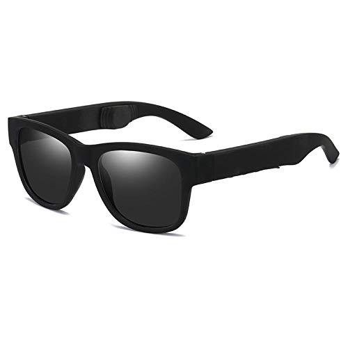 Gafas de sol polarizadas para hombre Gafas de sol anti-UV Moda Retro para mujer Gafas de sol coreanas-Arena marco negro negro gris pieza