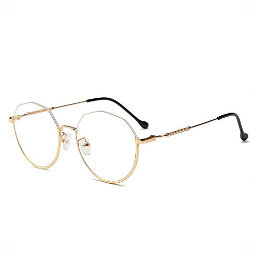 BXGZXYQ Retro Unregelmäßiger Halbrand Brillengestell Klassischer Halbrand Halbrandlose Klare Gläser Klappbare Unisex-Brillen (Farbe : Golden)