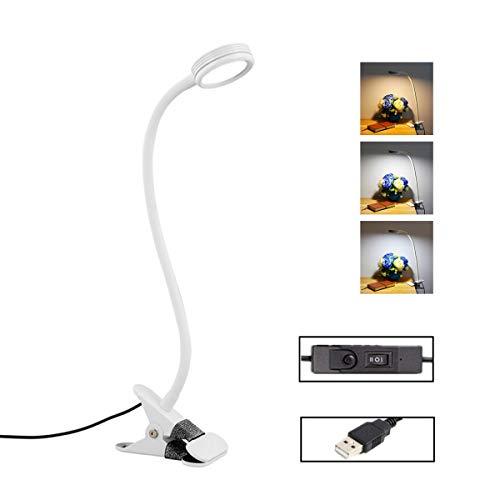 LED Klemmleuchte, Topschoen Flexible Klemmlampe mit 3 Farbmodi und 2 Helligkeitsstufen dimmbar, Nachttischlampe Leselampe/-leuchte für Bett,Schlafzimmer,Kinder,Studenten,Nachtleser, rund-weiß