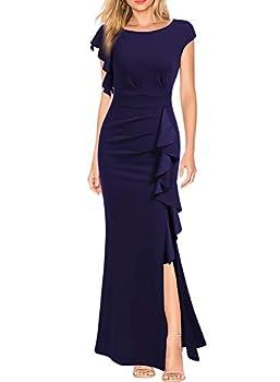 WOOSEA Women s Split Bodycon Mermaid Evening Cocktail Long Dress Navy Blue