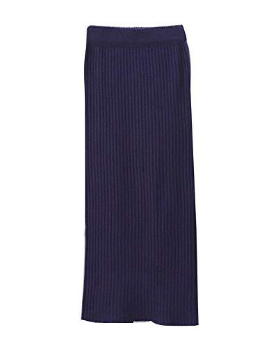 Damen Retro Elegant Elastizität Hohe Taille Midi Rock Winter Bleistiftrock Strickrock Marine Eine Größe