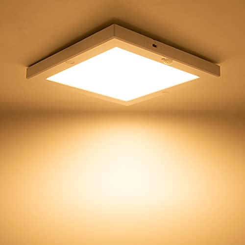 LED Deckenleuchte mit PIR Bewegungssensor,18W LED Deckenlampe Quadratisch mit Dämmerungssens, Ultra Flach Panel Leuchte Warmweiß 3000K 230V für Badezimmer,Flur, Keller,Treppe,Ausgang