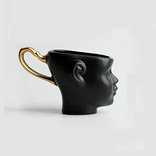 DWZX Personalidad Taza de la Taza de cerámica Creativa de la Cara Pareja Idea Café Cup.Gift for cumpleaños, Boda, Aniversario y for Otros Especial (Color : Black, Size : 200ml)
