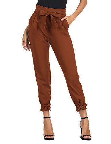 GRACE KARIN Pantaloni Lunghi Elegante Donna Bodycon Slim Casual Leggero Tessuto Morbido caffè M...