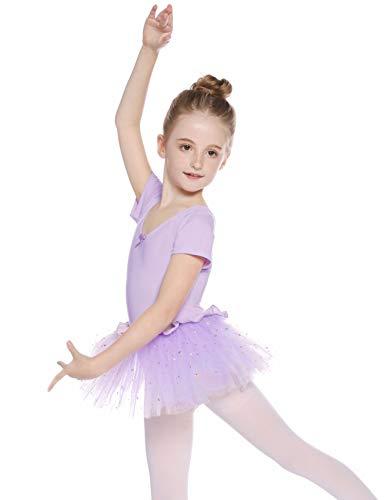 Hawiton Maillot Ballet Danza niña Tutu algodón 5-16 años,Elástico Manga Corta Gimnasia Ritmica con Falda,Leotardo Body Clásico