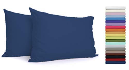 Tata Home Coppia Federe con Patella di 25 cm per Guanciali 100% Cotone Misura cm 50x80 Colore Blu Made in Italy 57 Fili al cm2