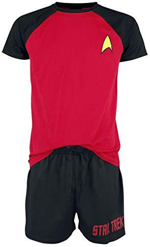 Star Trek Logo Hombre Pijama Negro/Rojo XL, 100% algodón,
