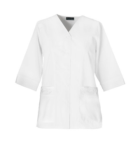 Cherokee 1949 Women's Fashion Whites Three Quarter Sleeve Eyelet Jacket White Medium