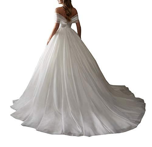 Damen Schulterfrei Organza Kirche Hochzeitskleider für Braut mit Zug Prinzessin Braut Ballkleid Gr. 42, elfenbeinfarben