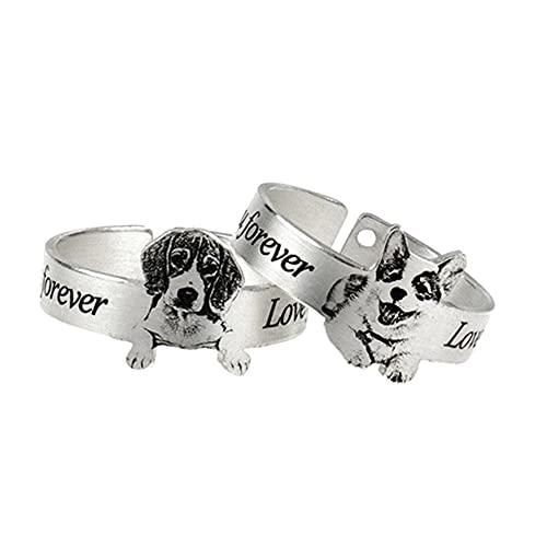 Anillo de foto personalizado para mascotas Anillo de texto grabado para amantes de los perros y...