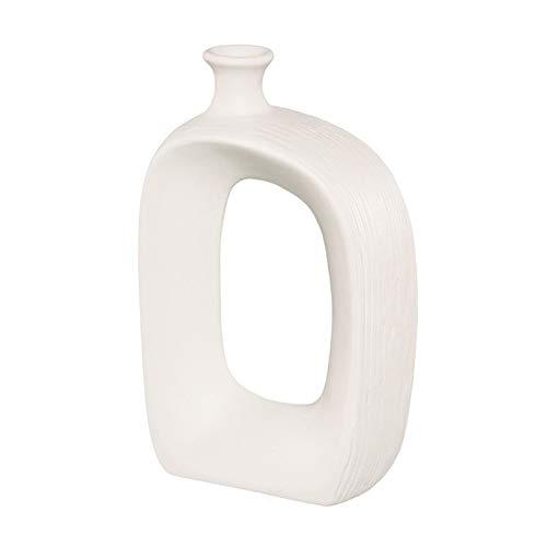 LICHUAN Jarrón de porcelana blanca para decoración de sala de estar, decoración de flores secas, jarrones de cerámica, decoraciones de escritorio para decoración del hogar (color: L)