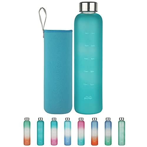 Botella de Agua de Cristal con Marcador de Tiempo, 500 ml/1 L Botella de Agua de Vidrio de Borosilicato sin BPA con Tapa a Prueba de Fugas y Funda de Neopreno, Perfecta para Oficina, Fitness,