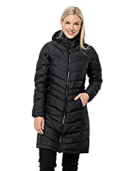 a lady wearing a knee length Jack Wolfskin black down jacket