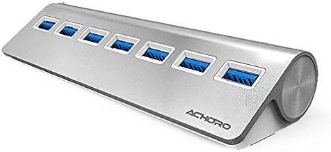 Achoro 7 Ports USB 3.0 High-Speed USB Hub - Triangle Aluminum Alloy Seven Ports Data Transfer USB Hub Compatible with PC, iMac, MacBook, Windows, USB Flash Drive, Hard Drive, and More