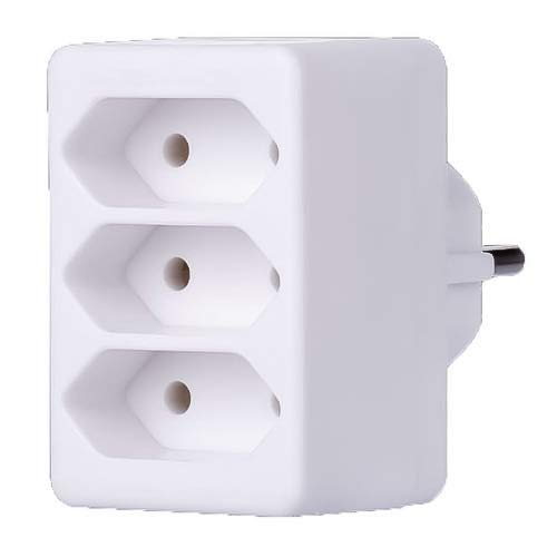 PremiumCord brennenstuhl Adapterstecker Euro 3-Fach, Farbe Weiß