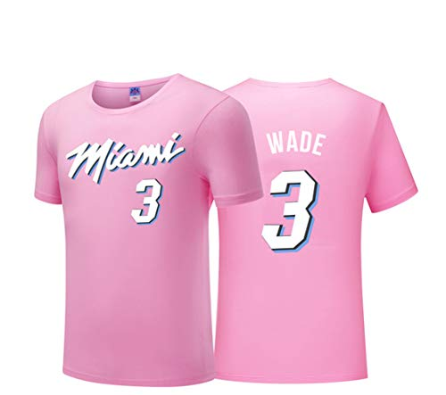 LLRLMiami Wade City Edition Basketball Kurzarm, Big Fans T-Shirt Tank Top Fitnessstudio Sport Short T Schweiß Bequemes Geschenk-Pink-XXXL