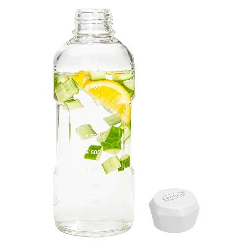 Trendglas Jena Glasflasche/Trinkflasche to go aus Borosilikatglas mit Skala - weißer Verschluss, 1000 ml