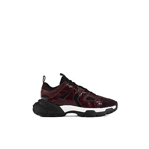 Un Paso Más - Sneaker Ante y Charol Dina.(UPM297). Color Granate. Zapatillas Casual Mujer (Numeric_37)