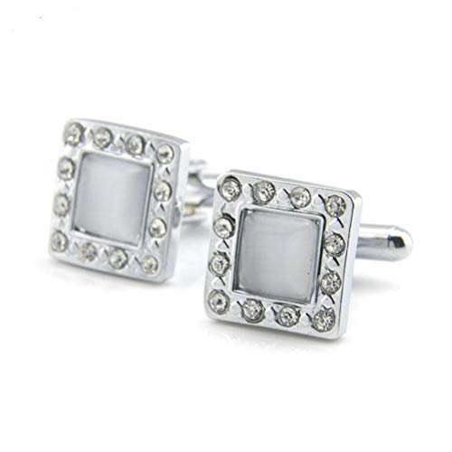 Men's Cufflinks, White Cat Eye Diamond Drill Square Copper French Cuff Buttons, Sparkly Gift Stylish Shirt Accessory For Accountant Boss Business Wedding Prom Formal Occasion