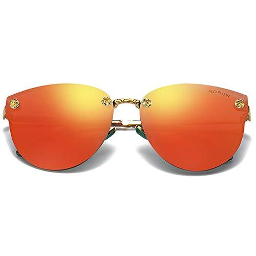 LCSD Gafas de sol Trend Color Film Metal Material Moda Wild Gafas de sol Negro/Rosa/Azul/Púrpura/Naranja Rojo Hombres Y Mujeres Con Marco Grande Gafas de Sol (Color: Naranja Rojo)