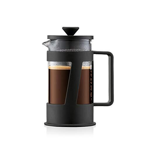 Bodum CREMA Kaffeebereiter (French Press System, Permanent Edelstahl-Filter, Sicherheits-Deckel, 0,35 liters) schwarz