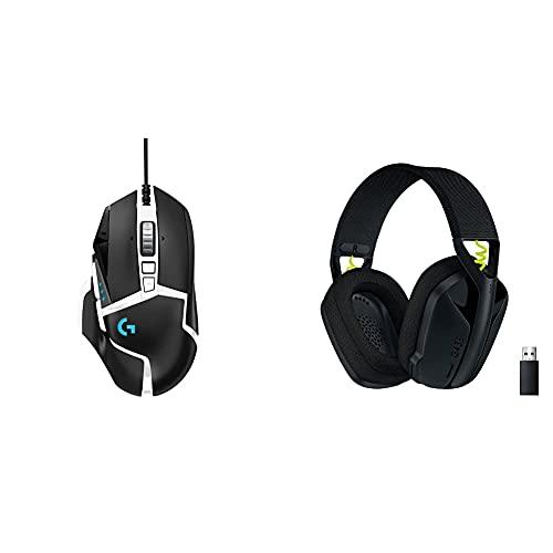 Logitech G502 Hero Souris Gamer Filaire Haute Performance Édition Spéciale, Noire et Blanche, with G435 Lightspeed et Bluetooth sans Fil Casque Gaming, Noir