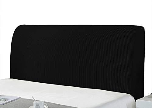 Bett Kopfteil Bezug Schonbezug Schutz Polyester Strecken Einfarbig Staubdichte Abdeckung Für Schlafzimmer Am Bett Dekorative Schutzvorrichtungen (120-140cm,Schwarz)