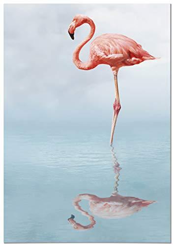 Panorama Aluminium Frame Flamingo 70x100cm - Gedrukt in hoogwaardig wit Dibond Aluminium - Salonboxen - Slaapkamerframes - Decoratieve platen - Moderne foto's
