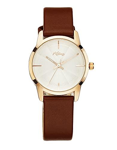 Reloj Mujer Elegante Analógico Relojes de Pulsera Mujer Resistente al Agua Minimalista Relojes de Vestir para Mujer - Marrón Cuero
