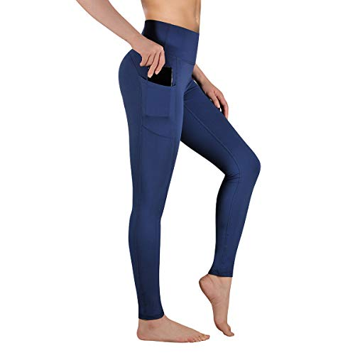 Gimdumasa Pantalón Deportivo de Mujer Cintura Alta Leggings Mallas para Running Training Fitness Estiramiento Yoga y Pilates GI188 (Azul profundo, XS)