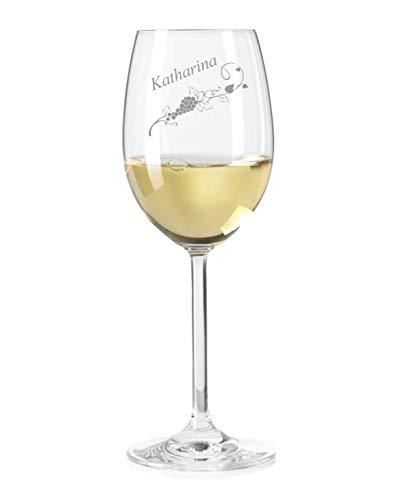Weißweinglas mit Name graviert - personalisiertes Weinglas - mit individueller Wunsch-Gravur als Geschenk (Weinranke)