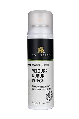 Solitaire Velours Nubukpflege Spray 200ml Farbauffrischung und Imprägnierung für alle Rauleder (Velours-, Nubuk- und Wildleder) sowie Textilien Farbe schwarz